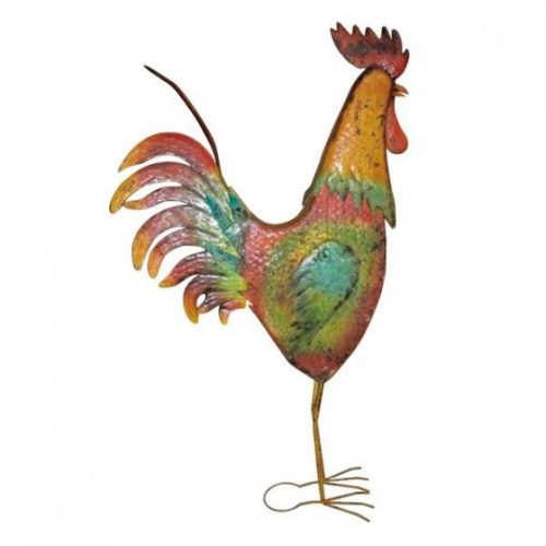 Large Multi-Colored Metal Decorative Rooster Garden Statue